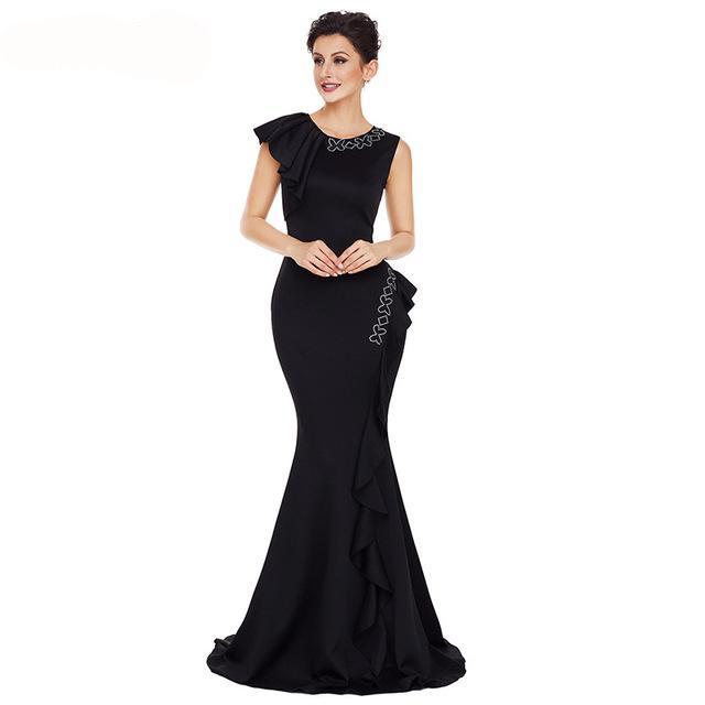 Sleeveless Diamonds Ruffles Mermaid Formal Dress (Red/Black/Pink)
