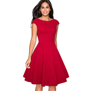 Ruched Cap Sleeve Skater A-Line Swing Dress (Red/Black)