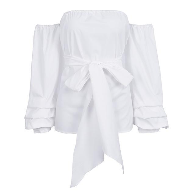 Lantern Sleeve Bow Blouse