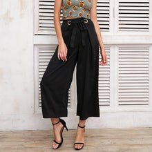 Metal Ring Tie Up Wide Leg Pant (White/Black/Khaki)
