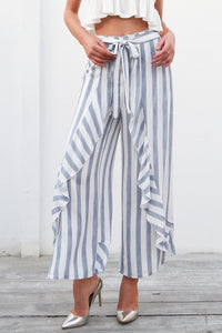 Stripe Ruffle Casual Pant (Blue/Yellow)