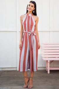 Strapless Halter Striped Romper