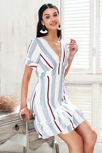 V Neck Stripe Ruffle Summer Dress