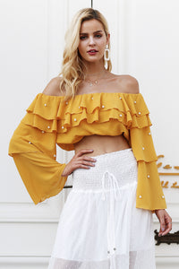 Off Shoulder Pearl Ruffle Blouse (Multiple Colors)
