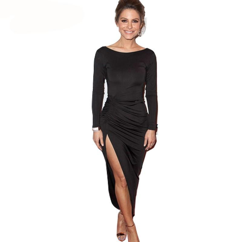 Sexy Backless Pleated Black Charming Fitted Dress