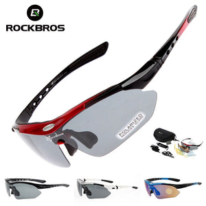 ROCK BROS Cycling Sunglasses UV400 Polarized 5 Lens plus Myopia Frame (complete kit)