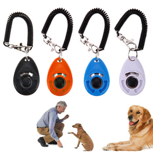 Dog Clicker Adjustable Sound Key Chain And Wrist Strap Doggy Training Device