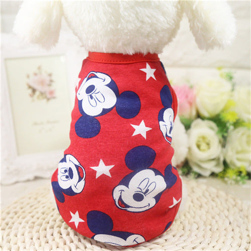 Soft Cotton Dog Shirts Vests Cartoon Print