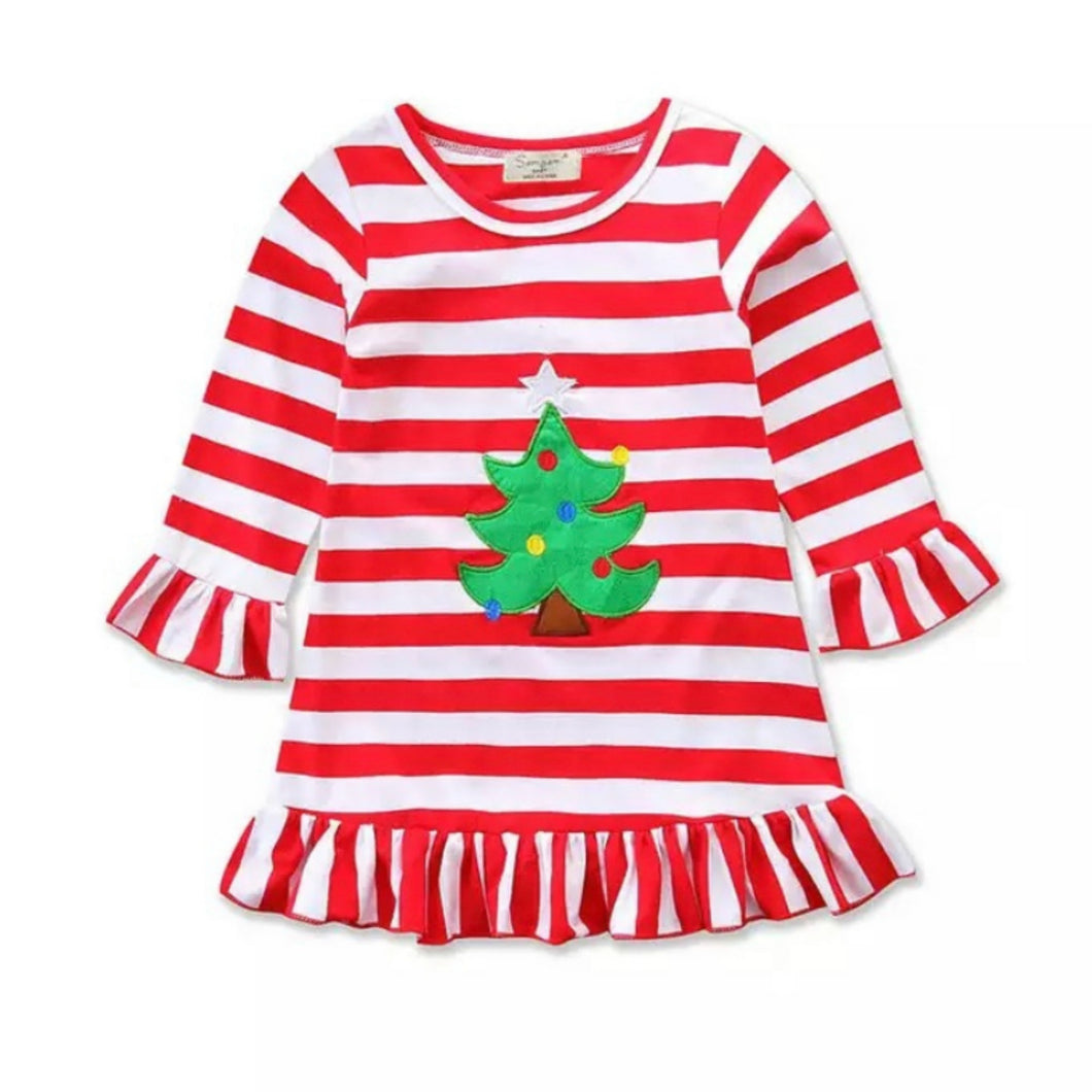 Holiday Striped Christmas Tree Dress