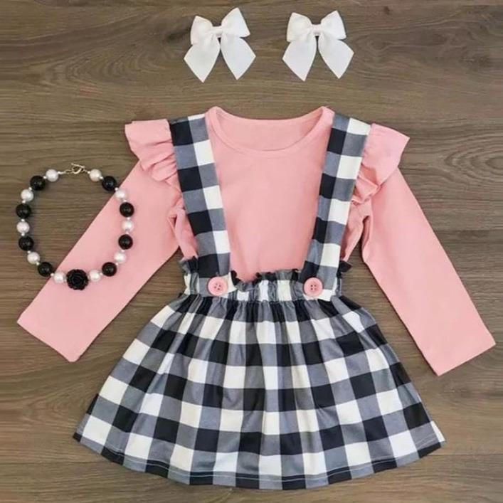 Pink and Black Plaid Jumper Set