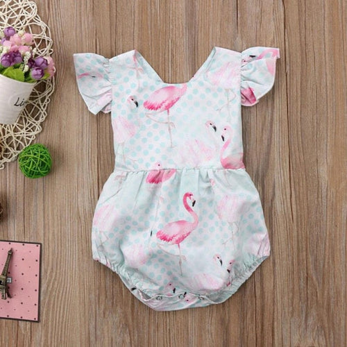 Ruffle Sleeve Flamingo Bubble Romper