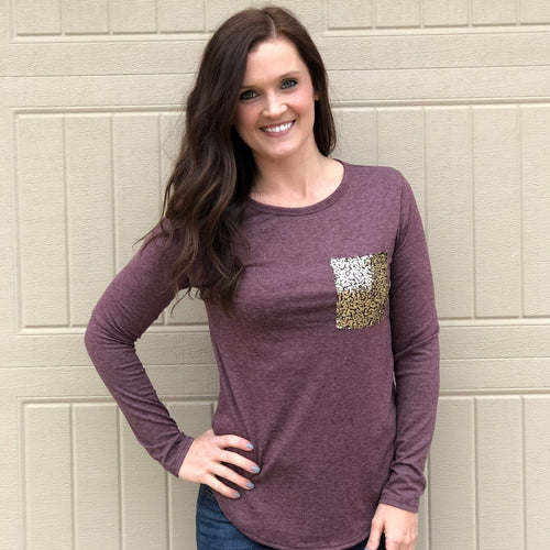 Sequin Pocket Pullover Top | 2 Colors