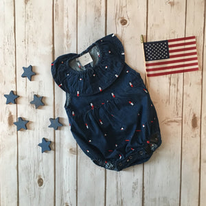 Firecracker Denim Embroidered Romper