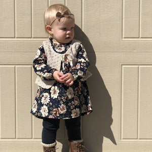 2 Piece Floral Dress | Navy