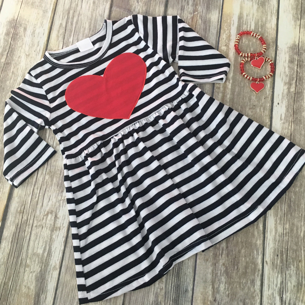 Navy Blue Striped Heart Dress