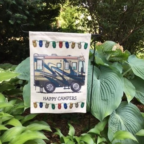Happy Camper Garden Flag
