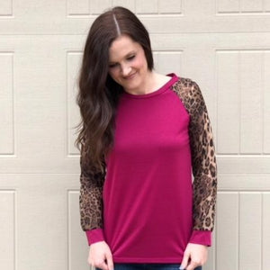 Animal Print Sleeve Pullover