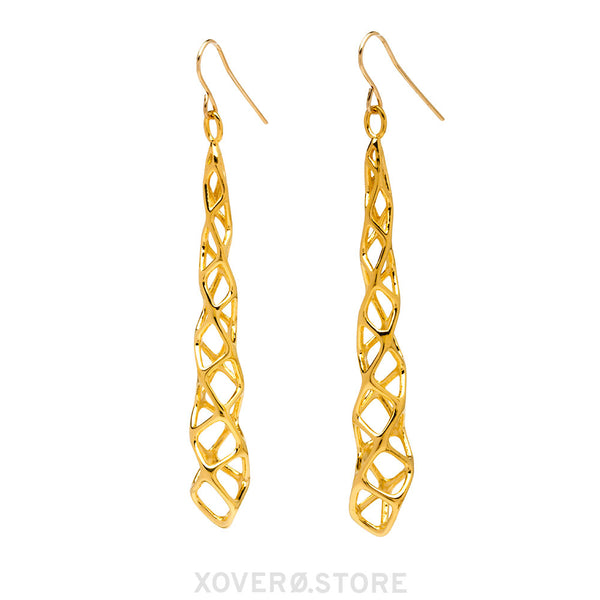 CUBICOID (long) - 3d Printed Earrings - Sterling or Gold-Plated