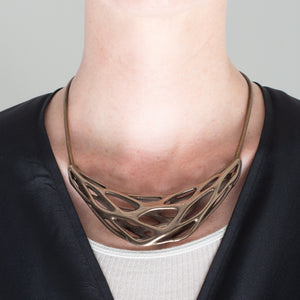 GRAVITY CREST - 3d Printed Necklace - Steel