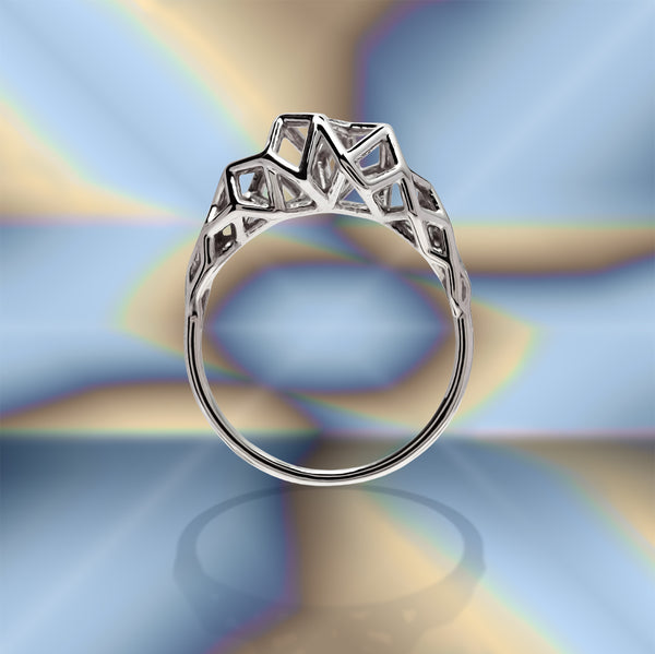 VEGA - 3d Printed Ring - Sterling or Gold Plated