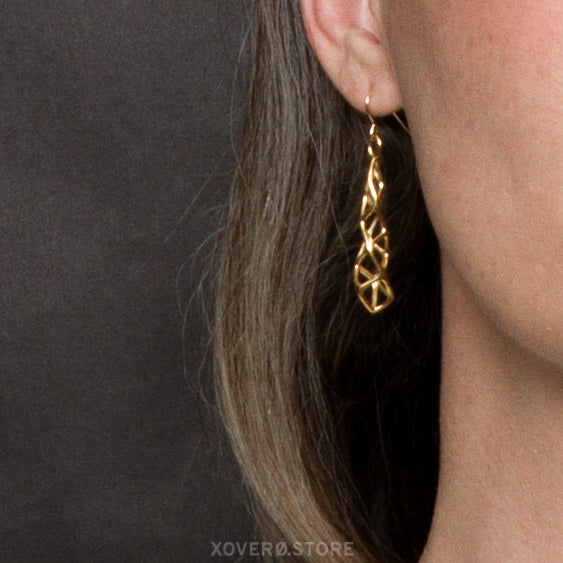 CUBICOID (short) - 3d Printed Earrings - Sterling or Gold-Plated