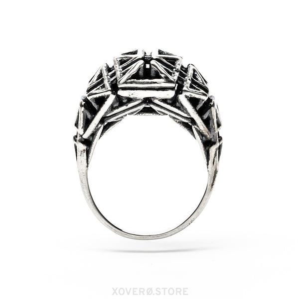 Daedal Ring Oxidized Silver
