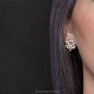 MORNINGSTAR - 3d Printed Earrings - Sterling Silver