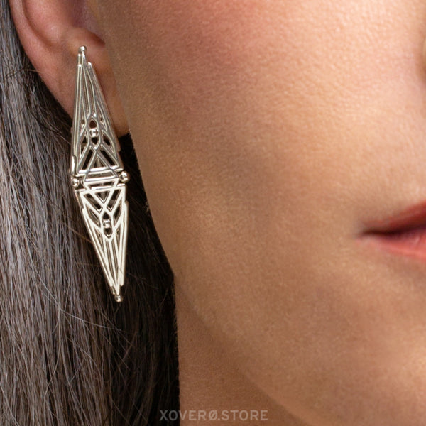 DOUCET - 3d Printed Earrings - Sterling Silver