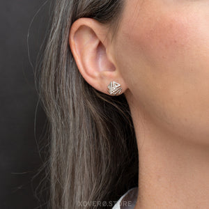 DOXOS - 3d Printed Earrings - Sterling Silver