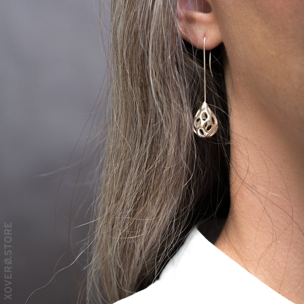 OLEA LONG-STEM - 3d Printed Earrings - Sterling Silver
