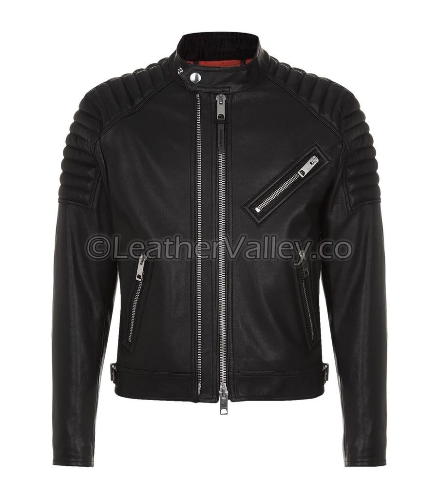Nordic Mens Bikers Leather Jacket with Quilted Shoulders - Black ... : quilted biker leather jacket - Adamdwight.com