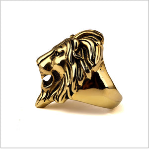 Golden Lion Head Ring