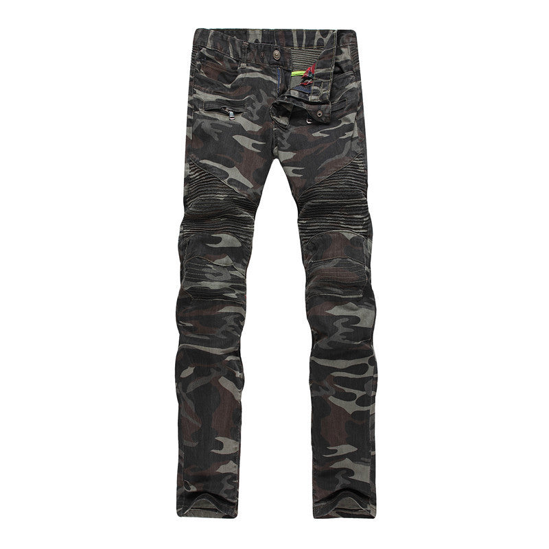 Mens Camouflage Biker-Style Skinys