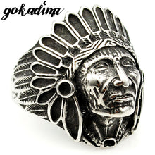 Mens Indian Chief Head Ring