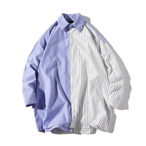 Split Pattern Button-Up Shirt