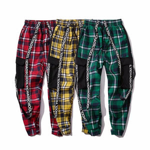 Side Lettered Plaid Joggers