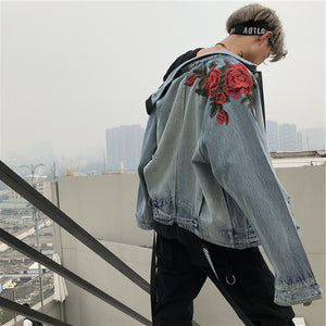 Rose Embroidery Jean Jacket