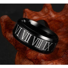 Black Roman Numerals Ring