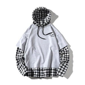 Flannel Layered Hoodie