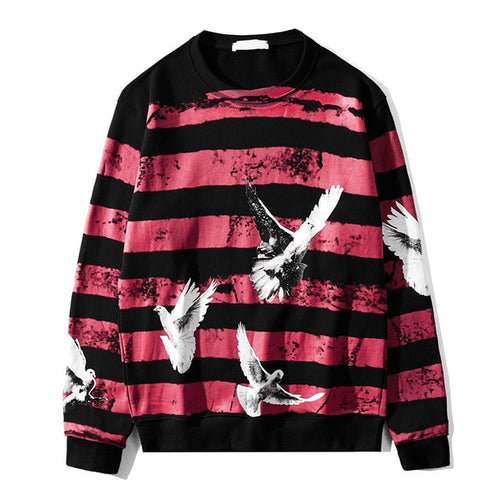 Striped Crane Flying Sweater