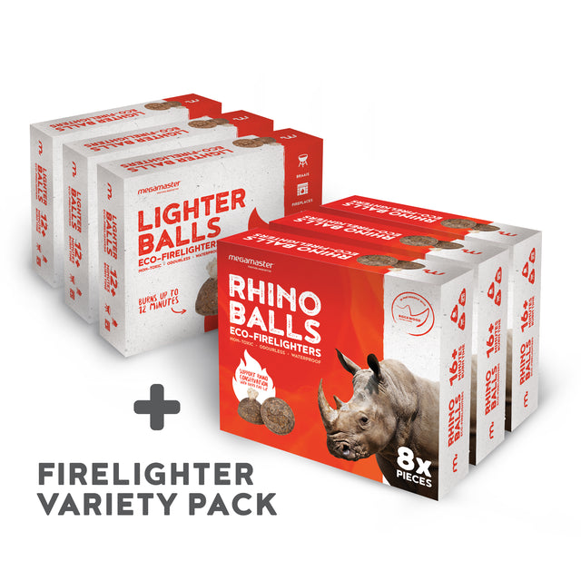 Firelighter Variety pack of 3 Rhino and 3 Lighter Balls