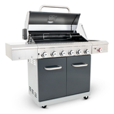 apex series 6 burner patio gas braai side lid open