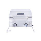 Camper 200 Pro Portable 2 Burner Gas Braai closed propped up