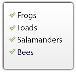 frogs, toads, salamanders, bees use the FrogLog
