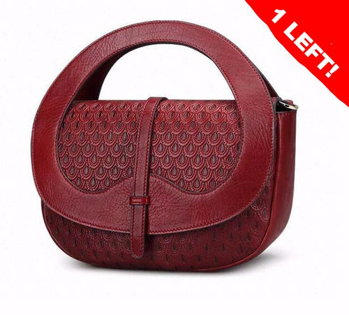 2017 NEW Unique Design Genuine Leather Tooled Handbag