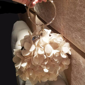 Elegant Chiffon Flowers Ring Handle Evening Clutch