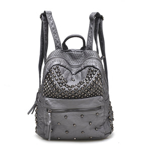 Designer Washed Leather Rivet Backpacks