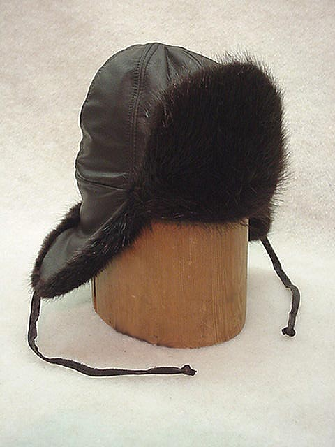 Bomber Hat Dyed Black Beaver