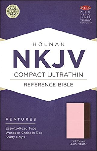 NKJV Compact Ultrathin Bible Pink/Brown by Holman (LeatherTouch)