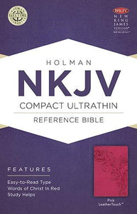 NKJV Compact Ultrathin Bible Pink by Holman (LeatherTouch)